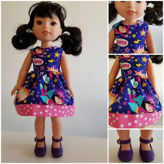 Super Hero Dress and Purple Shoes for Wellie Wisher 14 Inch