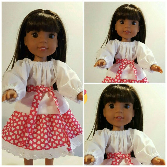14 Inch Doll Wellie Peasent Top and Skirt with Tie Belt