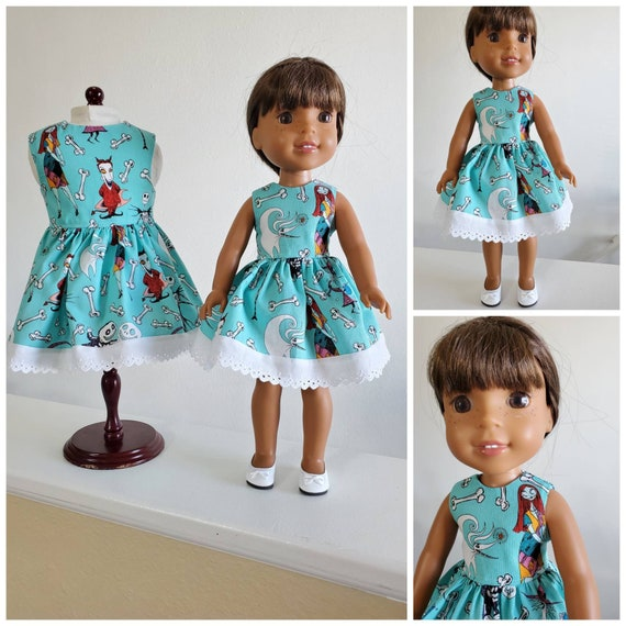 Nightmare Before Christmas Dress. I have  sewn eyelet lace at the hem! for American and  Wellie Wishers Doll