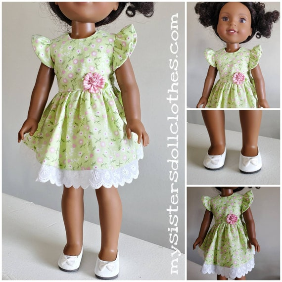 Pretty Green Flowered Dress  for 14.5 Inch Doll Wellie Wisher
