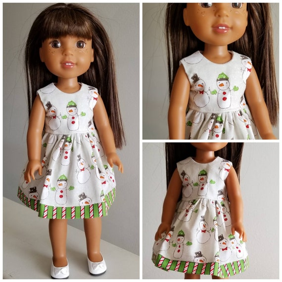 Christmas Snowman Dress for 14 Dolls Wellie Wisher Doll or 18 inch AG.