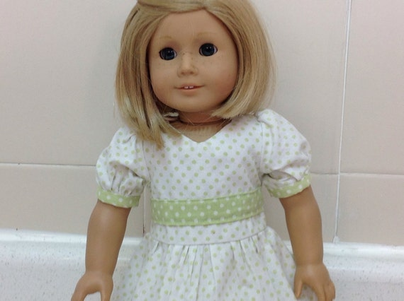 Green and White Polka Dot Dress for Your America Doll
