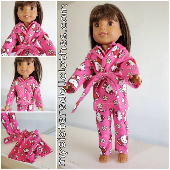 Hello Kitty Pajamas and Robe for Willie Wisher 14.5 Inch Doll  Flannel Fabric