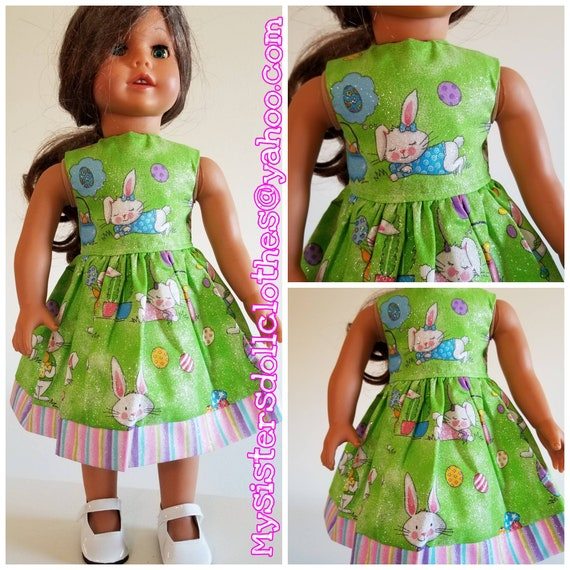 Happy Easter Bunny Dress in Green Grass for Your American Girl Doll