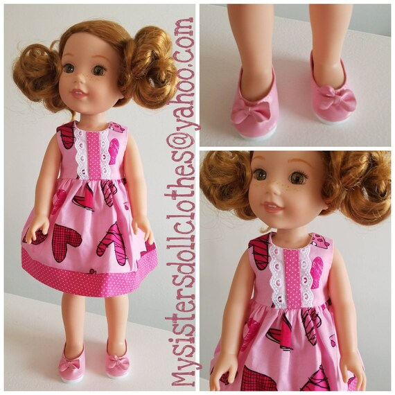 Hearts Dress and Shoes for  Wisher Wisher Doll