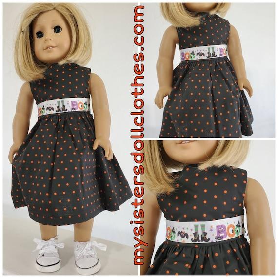 Black with Orange Polka Dots Boo Ribbon Halloween Dress for American girl doll