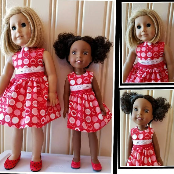 Hearts and Lace for Valentines Day Wisher Wisher Dress or American Girl Doll