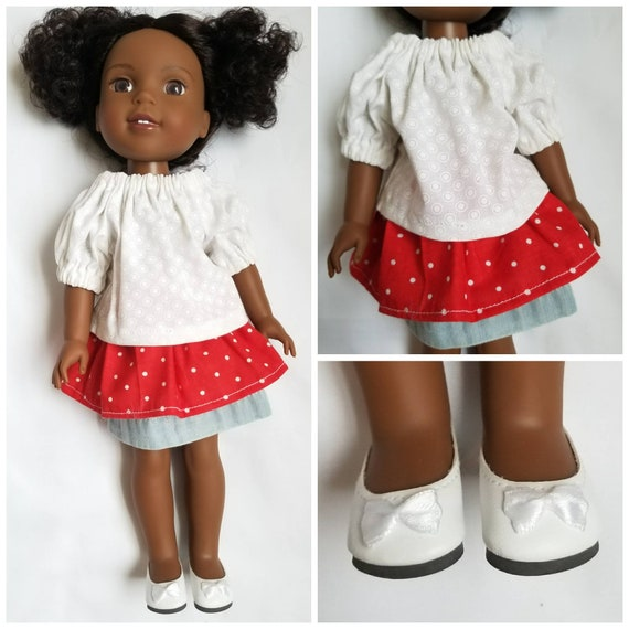 Two Layer Skirt, Cotton Peasant  Top and Shoes with Lace Sleeves for 14.5 Inch Doll
