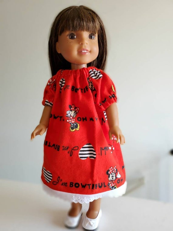 Minnie Mouse Flanel Nightgown to fit Wellie Wisher Doll and Disney Toddler Doll