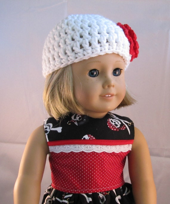 18 Inch American Handmade Skulls and Cross Bones Dress with a Crochet Hat American Made 18 Inch Doll Clothes