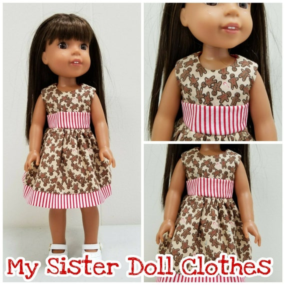 Christmas Gingerbread Dress for 14 and 18 Inch Dolls Wellie Wisher and American Girl