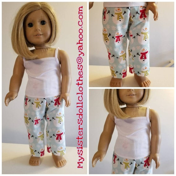 Winter Snowman PJ's for the American Made 18 Inch Doll Clothes