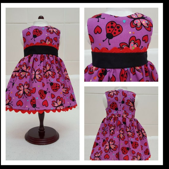 18 Inch Doll Clothes Lady Bugs and Hearts American Made 18 Inch Doll Clothes