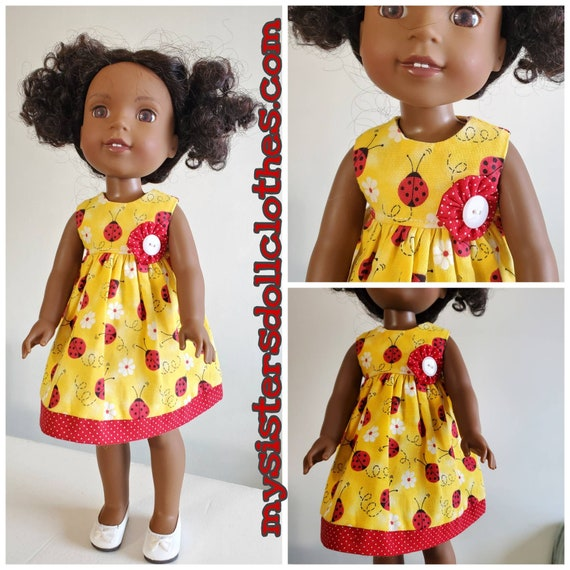 Yellow and Red Lady Bugs Dress for Your Wellie Wishers Dolls