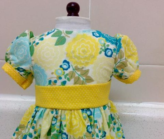 Yellow Flowers Bloom in this Long Dress American Made 18 Inch Doll Clothes