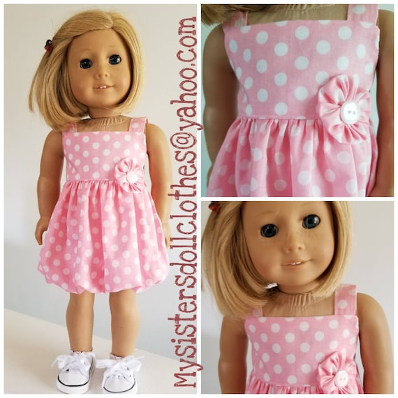 Polka Dot Bubble Dress 18 Inch Girl Doll Handmade American