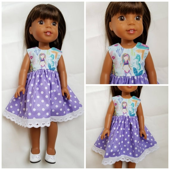 Mermaid Dress with Purple Polka Dots for 14.5 Inch Doll Wellie Wisher