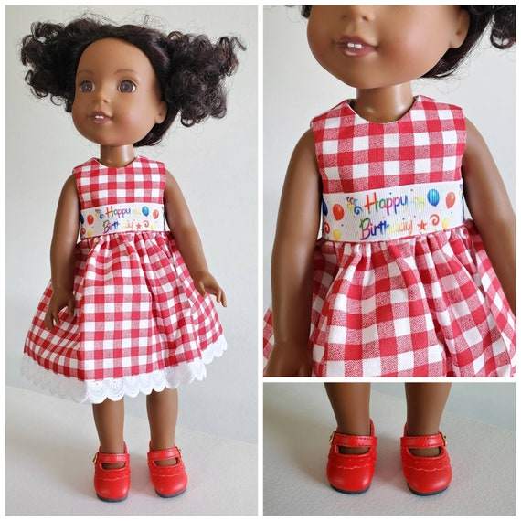 Happy Birthday Ribbon Dress for Willie Wisher 14.5 Inch Doll and American Girl Doll