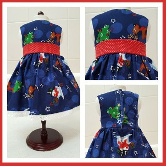 Reindeer and Snowmen Christmas Dress American Made 18 Inch Doll Clothes