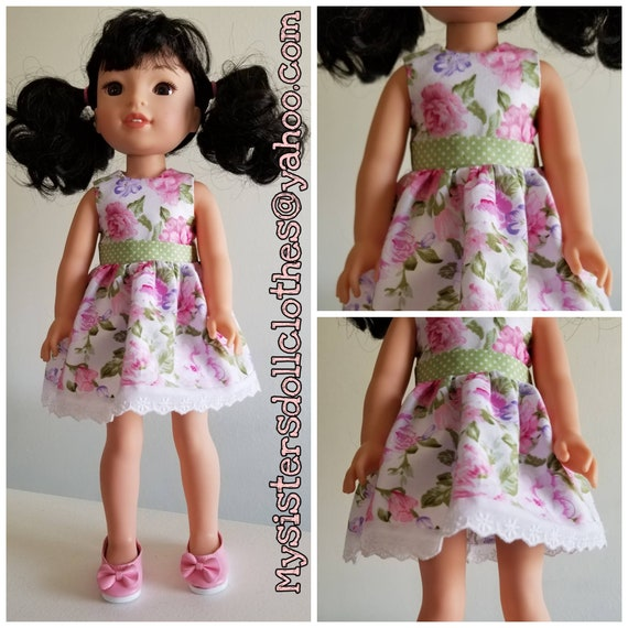 Shoes and Pink and Green Flowers Dress for 14.5 Inch Doll Wellie Wisher
