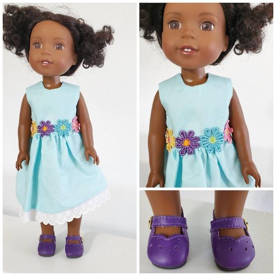 Aqua Flower Dress for 14 Inch Dolls