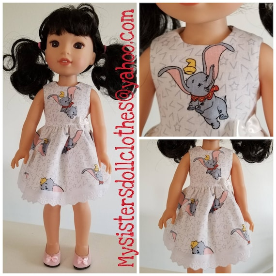 Dumbo the Flying Elephant Dress for 14 and 18 inch Dolls