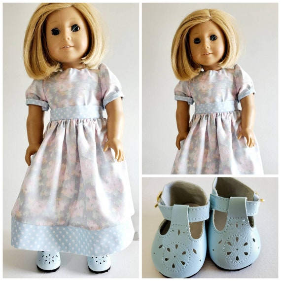 Blue Flowers Bloom in this Long Dress American Made 18 Inch Doll Clothes