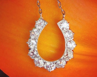 Antique 1.2 Carat Old Mine Diamond Horseshoe Necklace with Platinum Chain