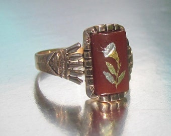 Antique Victorian Carnelian Morning Glory Flower Rose Gold Ring 10K. Rose of Sharon. Spring Love.