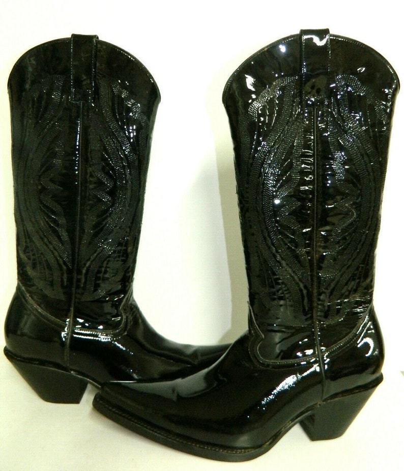 bf9196918bbc9 Patent leather cowboy boots 2.5 inch high heels stacked leather soles and  heels men size 8 1/2 only one pair ready to ship today