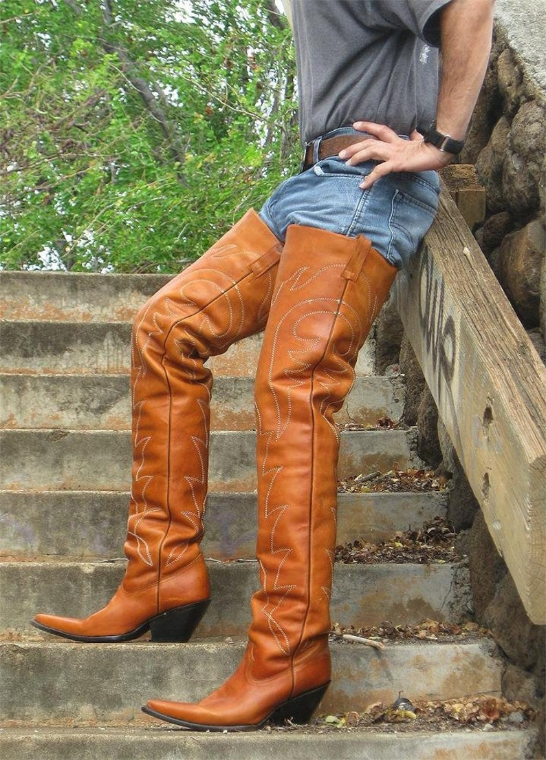 e342472512e Custom Made 37 Inches Tall Leather Cowboy Boots 2 inch To 5 inch High Heels  Made To Order.
