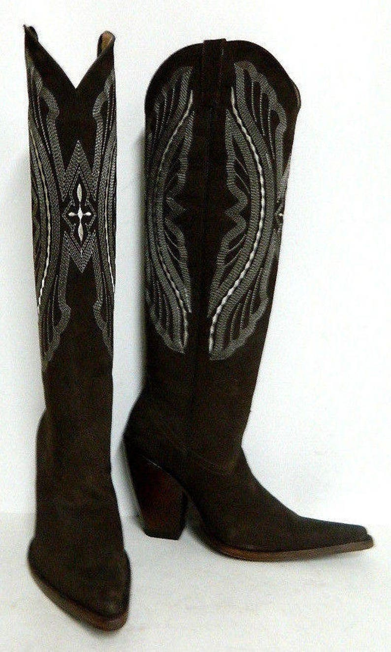 0658537bbc3 Made to order nubuck leather cowboy boots 22 inch tall made to order to  your size