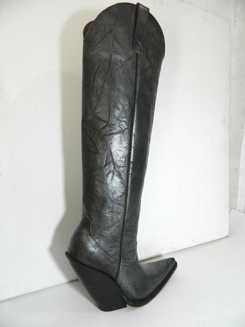 cc1ca96083b WOMEN made to order Bull neck black silver shade cowboy boots sharp toe 5  inch slanted heels 22 inch tall boot MADE to order