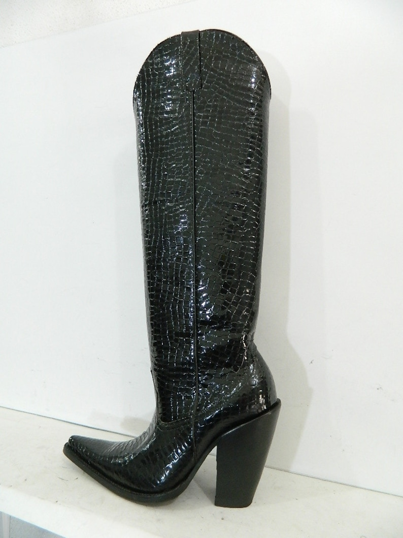 6ee059f061f MEN made to order Miguel cowboy boot 22 inch tall crocodile belly patent  leather made to order any size