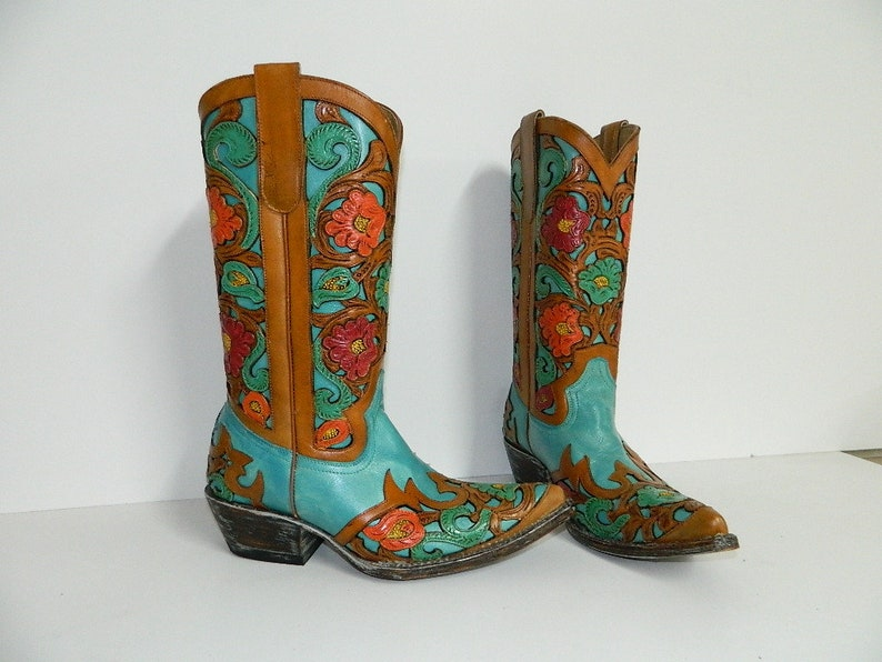 73e2a27da586c Ladies Saddle tan and turquoise inlay Hand tooled Cowgirl Boot mad to order  boots the color can be changed