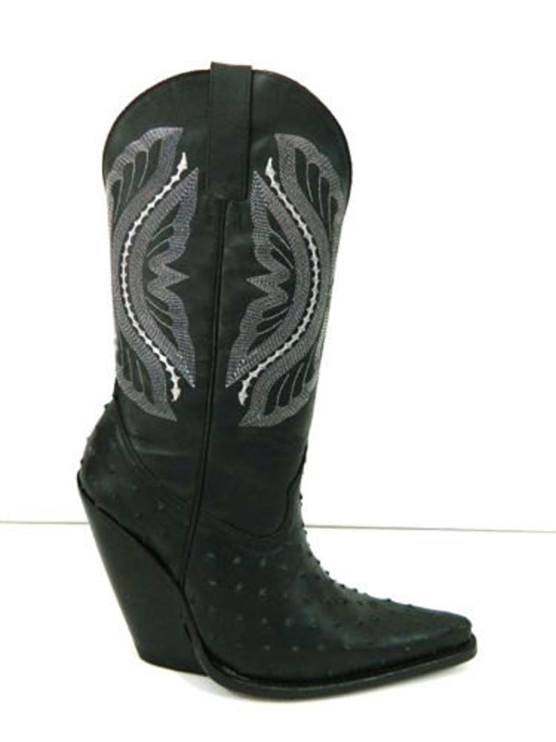 9f535e1ea944 MAde to order to your size Ostrich embossed leather Cowboy