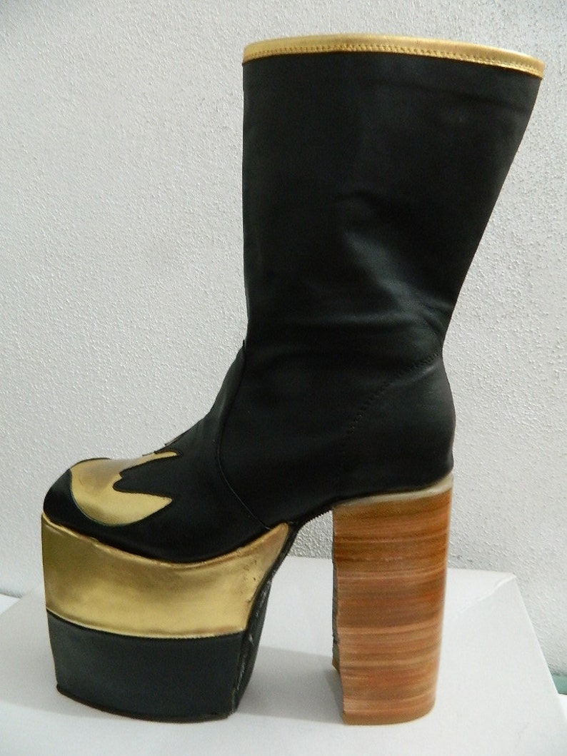 e3bc96633a8 Glam Platform golden swallow genuine leather boots 70s style made to order