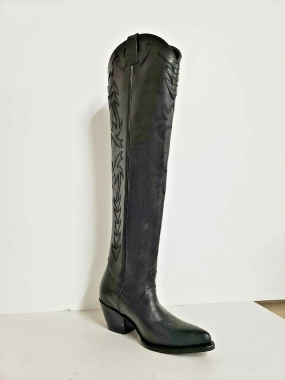 knee high cowboy boots with sharp toe