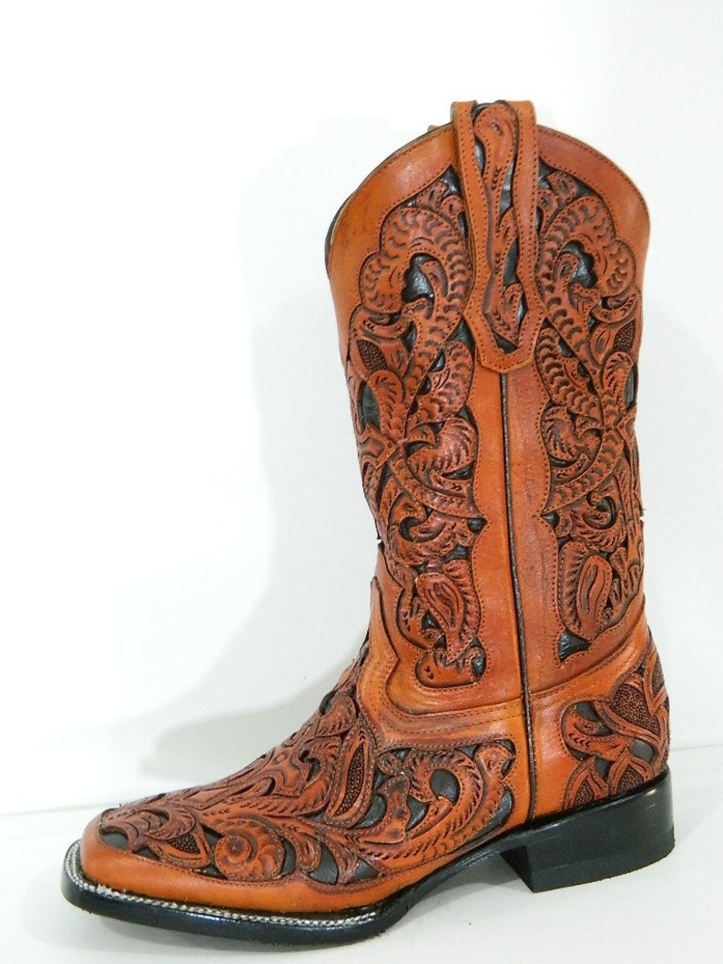 abc4d27c37a66 Sadle tan square toe hand tooled cowboy boot made to order to your size