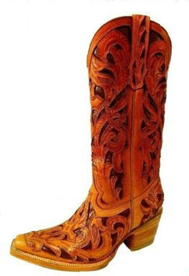 ca0a440f5486b Made to order Hand tooled cowboy boot made to your foot and calf size style  can be made in any color
