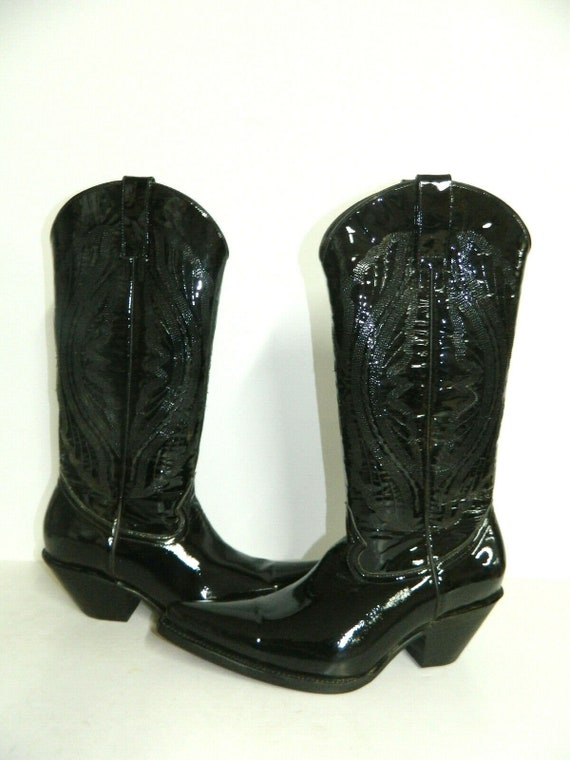 4a643b4b94ce1 Patent leather cowboy boots 2.5 inch high heels stacked leather soles and  heels men size 8 1/2 only one pair ready to ship today