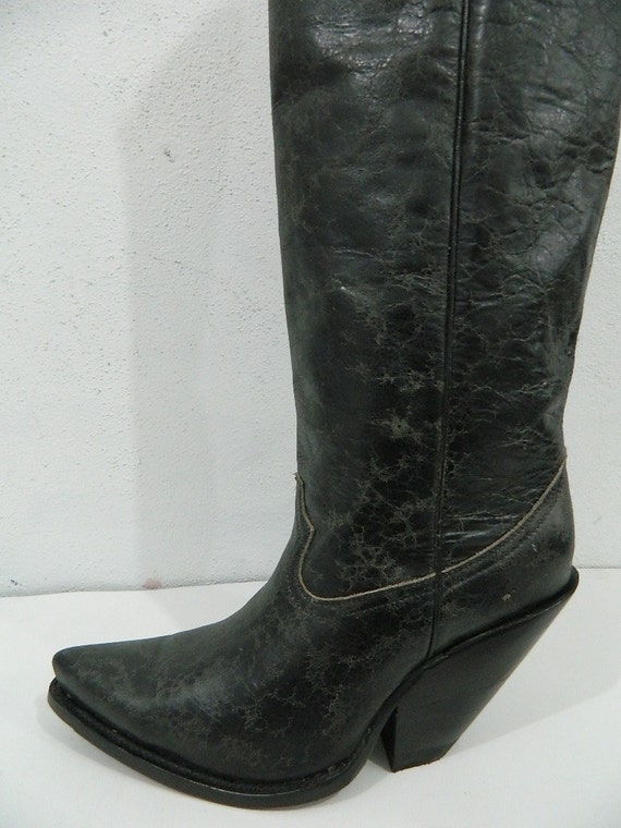 57168acd3dc 22 inch tall cowboy boots with 4 inch extreme slanted heels new sharp toe  style made to order boots