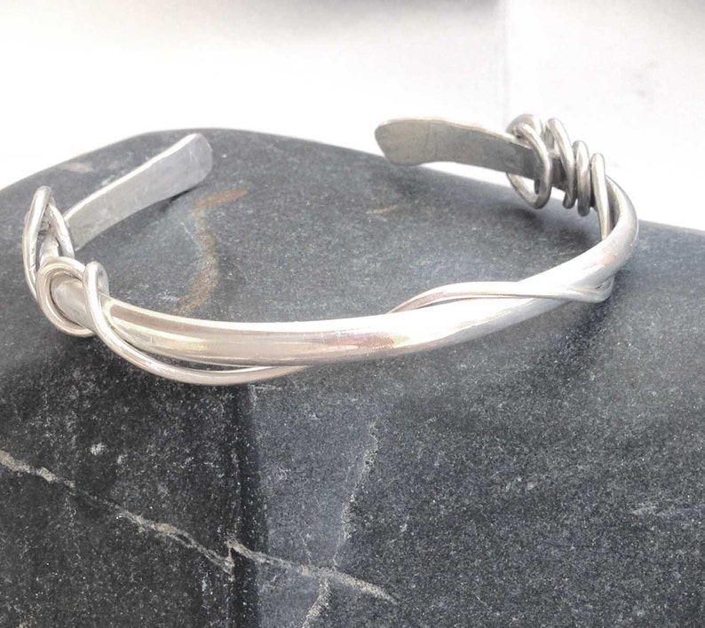 Unisex Bracelet Metalsmith Gift for Her Silver Thin Cuff Hand Wrought Heavy Oval Sterling Silver Cuff Hand Made Forged Hammered