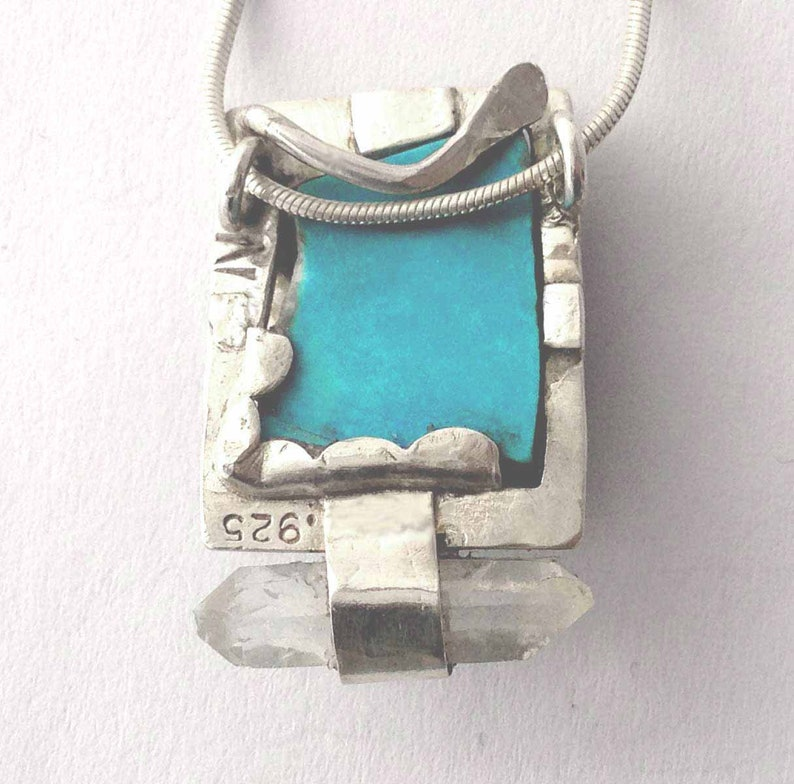 Herkimer Diamond Crystal and Turquoise Pendant Metalsmith Made and Eco Friendly Blue Necklace For Her or Gift for Him