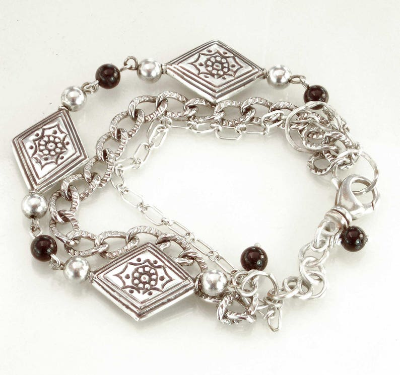 Celtic Viking Norse Chain Oxidized Unisex Gift for Her Sterling Black Onyx 3 Chain Bracelet Silver Gift for Him Metalsmith Made