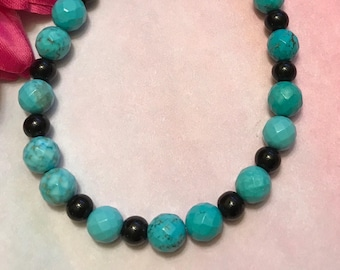 teal and black bracelet, howlite, glass, toggle clasp, 8.25 inches