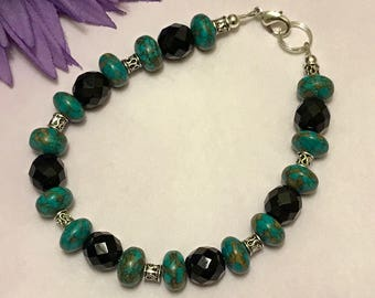 mosaic turquoise bracelet, beaded bracelet, teal and black, silver plated, jewelry