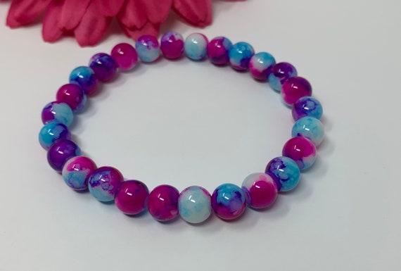 Pink and blue beaded bracelet
