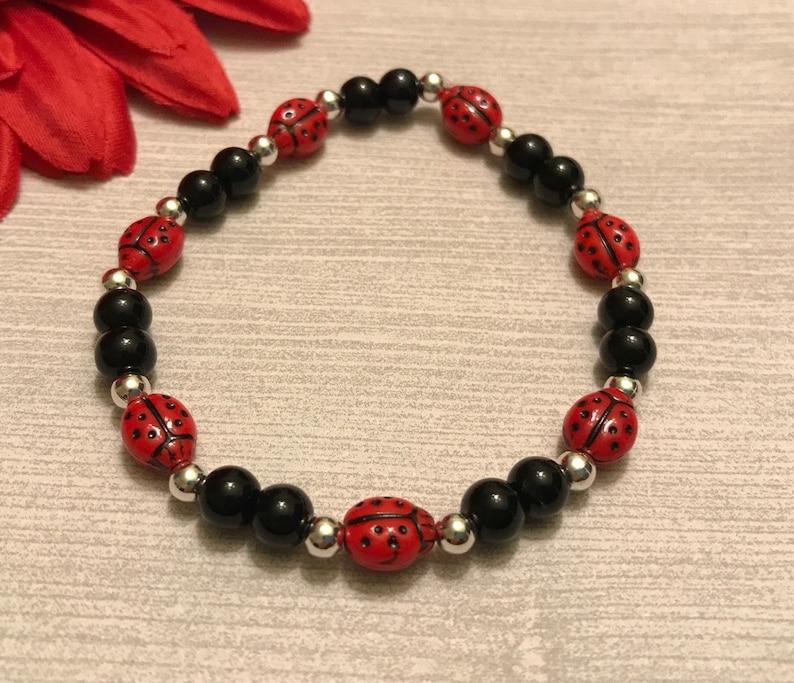 new Czech glass beads red and black ladybug bracelet handmade