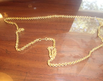vintage necklace long goldtone chain